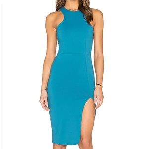 NWT! Donna Mizani Racer Front Midi Dress in Teal
